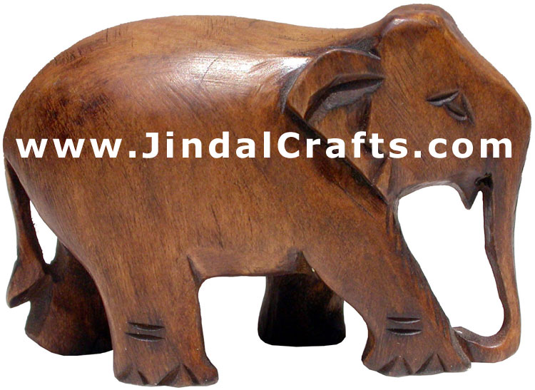 Hand Carved Wood Elephant Sculpture India Carving Art