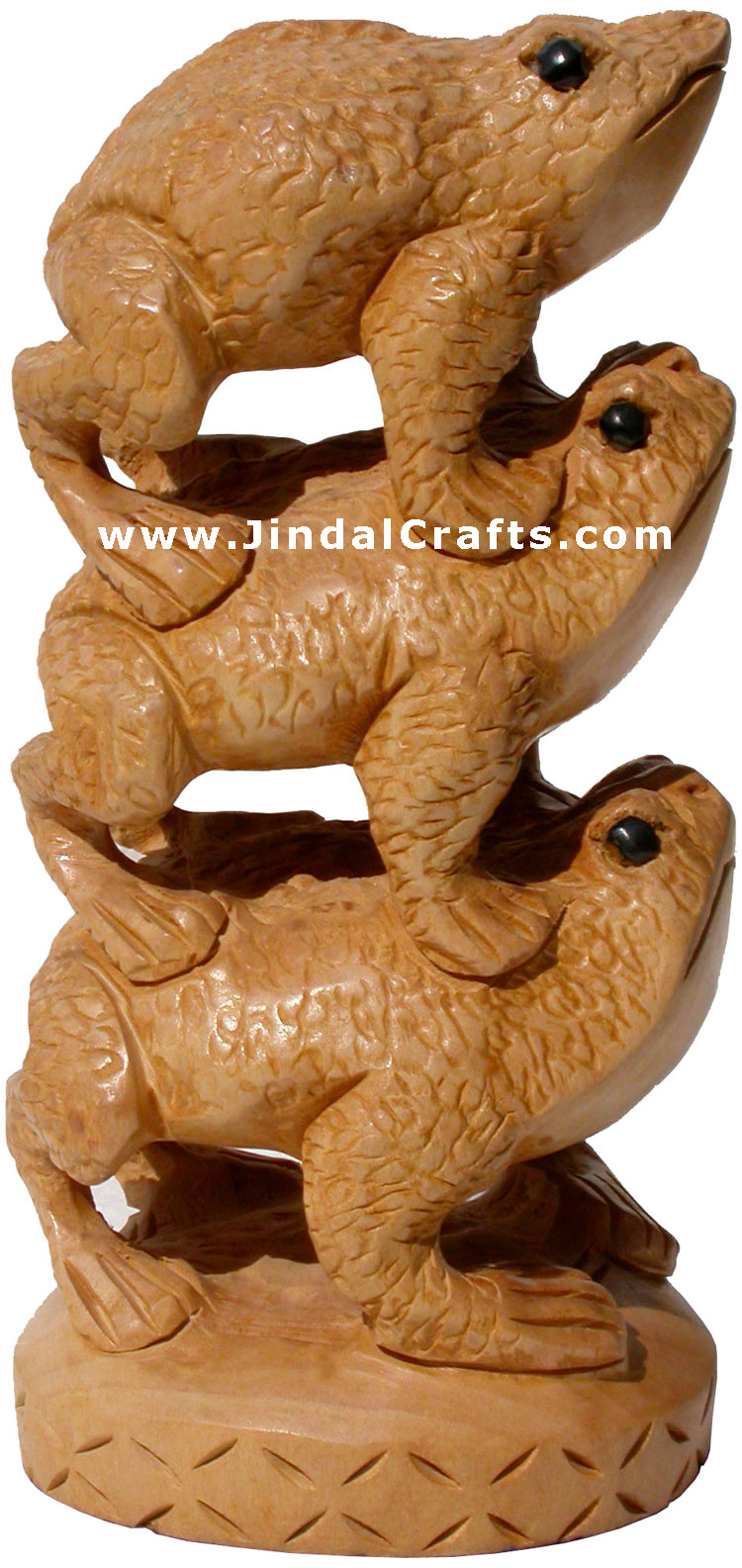 Wooden Frog Feng Shui Tower - Hand Carved Indian Artifacts Statues Lucky Idol