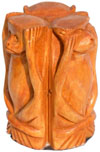 Hand Carved 3 Wise Monkeys Mahatma Gandhi India Arts