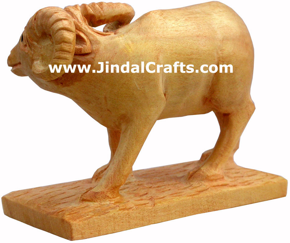 Wooden Sheep - Hand Carved Indian Art Craft Handicraft Figurine Home Decor