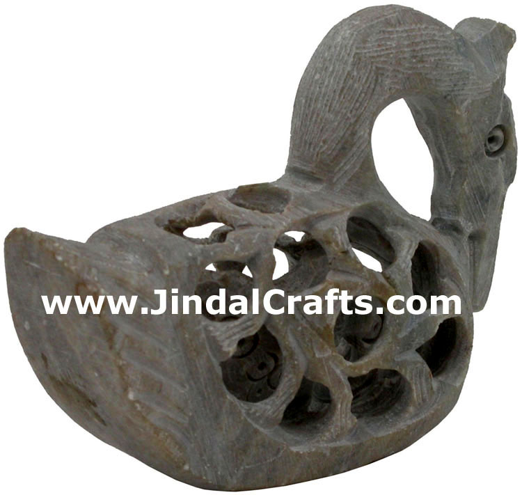 Duck - Hand Carved Soft Stone Birds Figures India Art