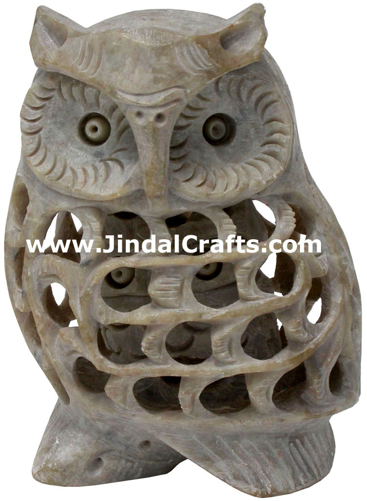 Baby Owl - Hand Carved Soft Stone Birds Figures Arts