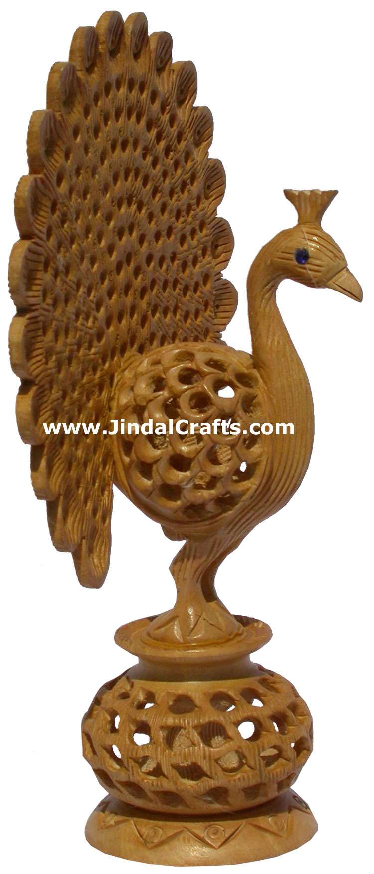 Hand Carved Wooden Sculpture Dancing Hollow Peacock India Artifact Bird Statues