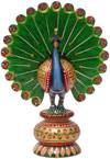 Peacock - Hand Carved Hand Painted Wooden Bird Figure Indian Handicrafts Gift