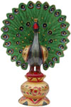 Peacock - Hand Painted Colorful Bird Carved Figurine