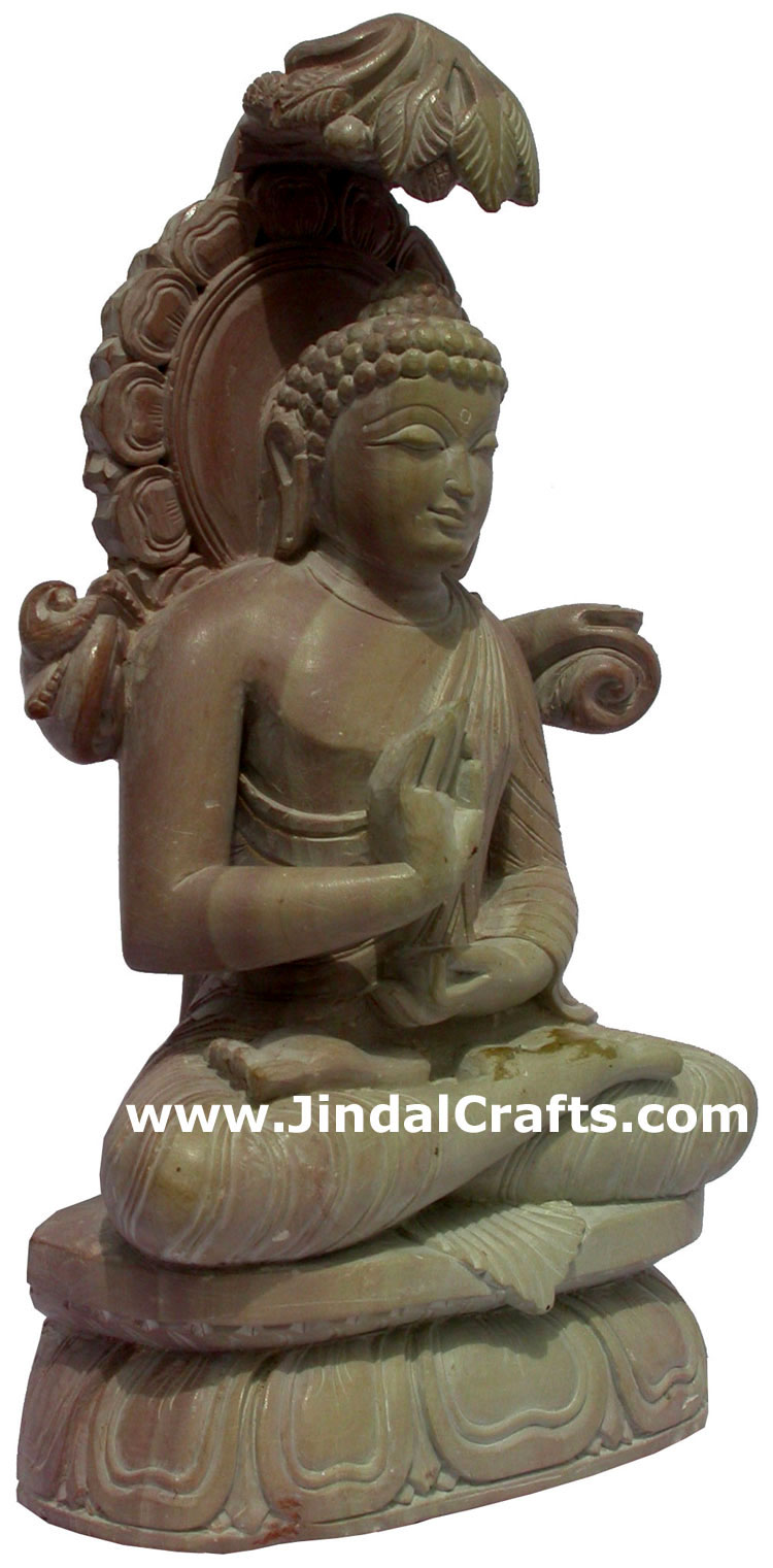 Master piece hand carved pink stone buddha statues india