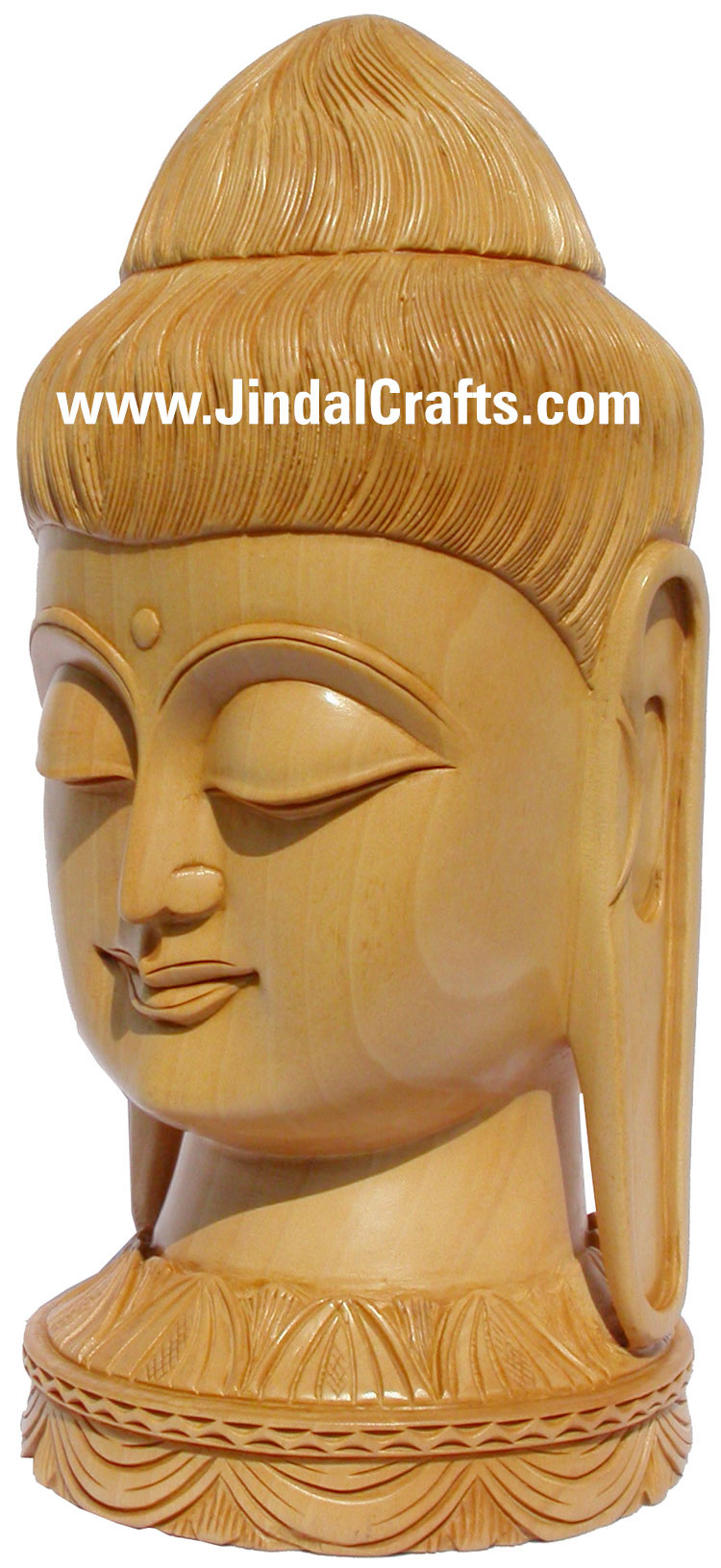 Wooden Hand Carved Gautam Buddha Head Indian Wood Figurine Art Idol Sculpture