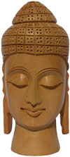 Wood Sculpture Buddha Bust Figurine India Hindu Art Hand Carved Buddhism Crafts
