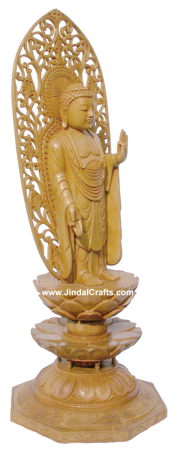 Handmade Wood Sculpture Buddha in Meditation