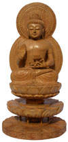 Wood Sculpture Buddha Having Lotus in Hand Buddhist Art