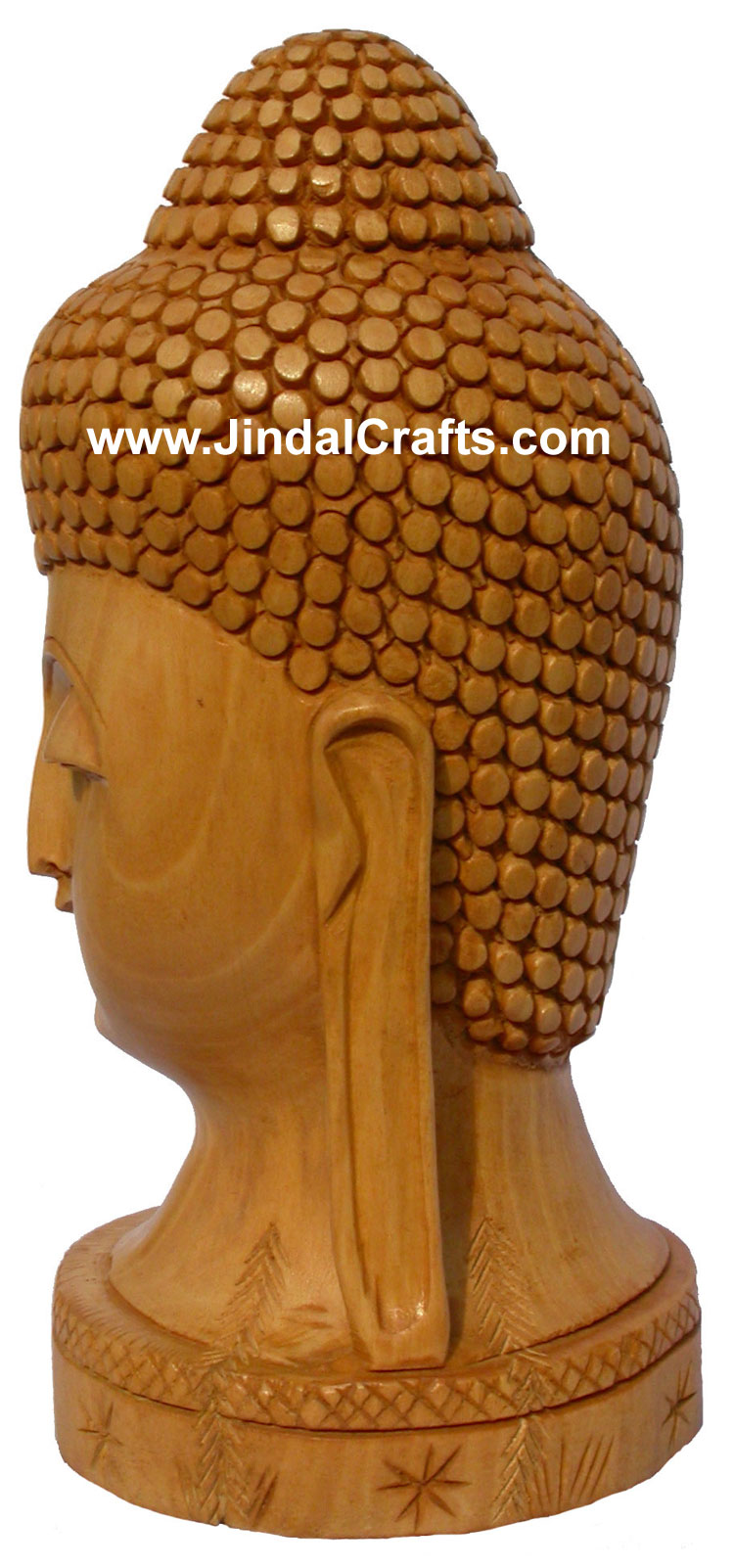 Wood Sculpture Peaceful Buddha Head Figure Buddhist Art