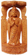 Wood Sculpture Hand Crafted Peaceful Buddha in Meditation Sculpture Statue Idol