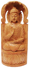 Wood Sculpture Meditating Buddha under Shadow of Snakes Handicrafts Idol Crafts