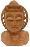 Wood Sculpture Hand Crafted Peaceful Buddha Bust in Meditation Sculpture Statues