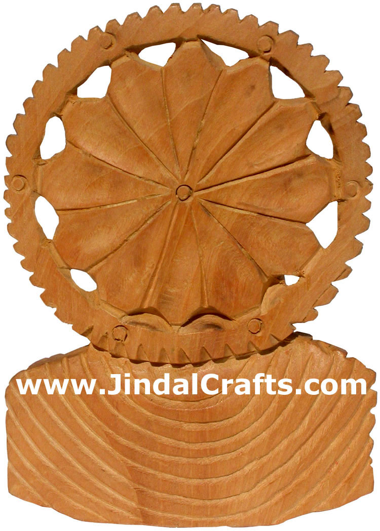 Hand Carved Wooden Buddha Bust Sculpture India Carving Handicrafts Arts Crafts