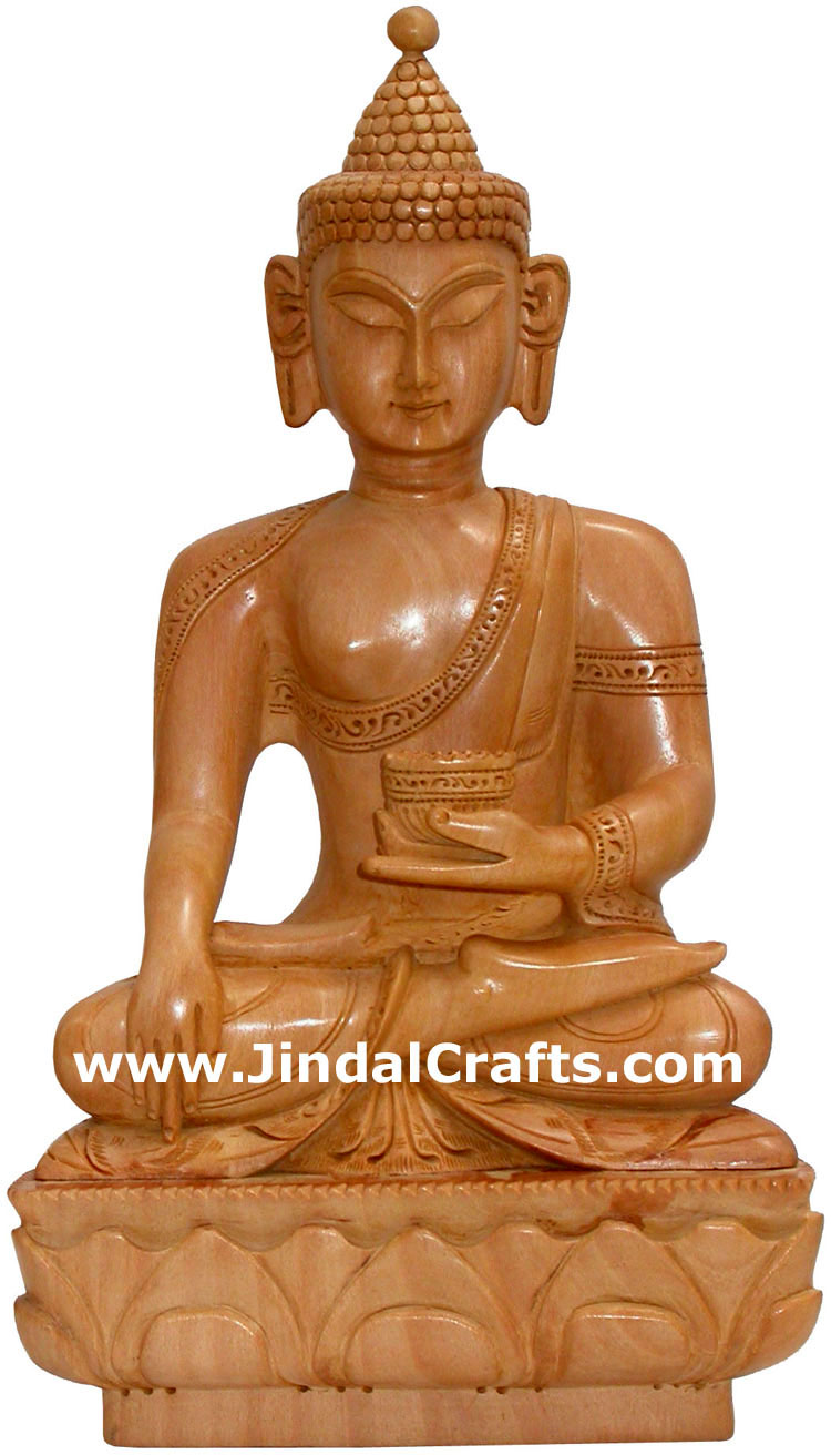 Hand carved wooden buddha sculpture indian carving