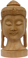 Buddha Head - Hand Carved Wooden Buddhism Figures Indian Handicraft Tibetan Arts