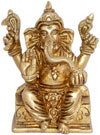 Lord Ganesha Indian God Brass Sculpture Hand Crafted