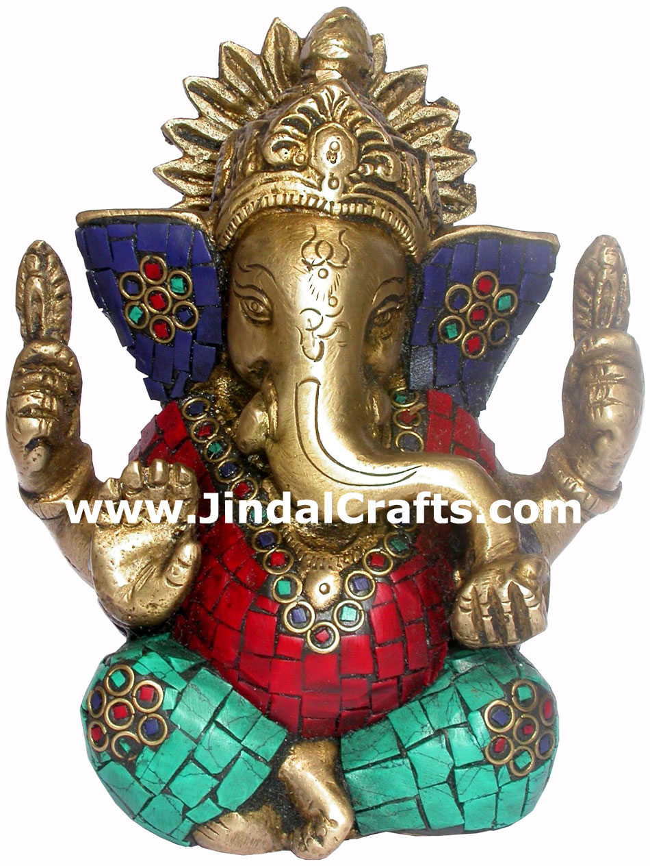 Ganesha Hand Carved Indian Art Craft Handicraft Home Decor Brass Figurine