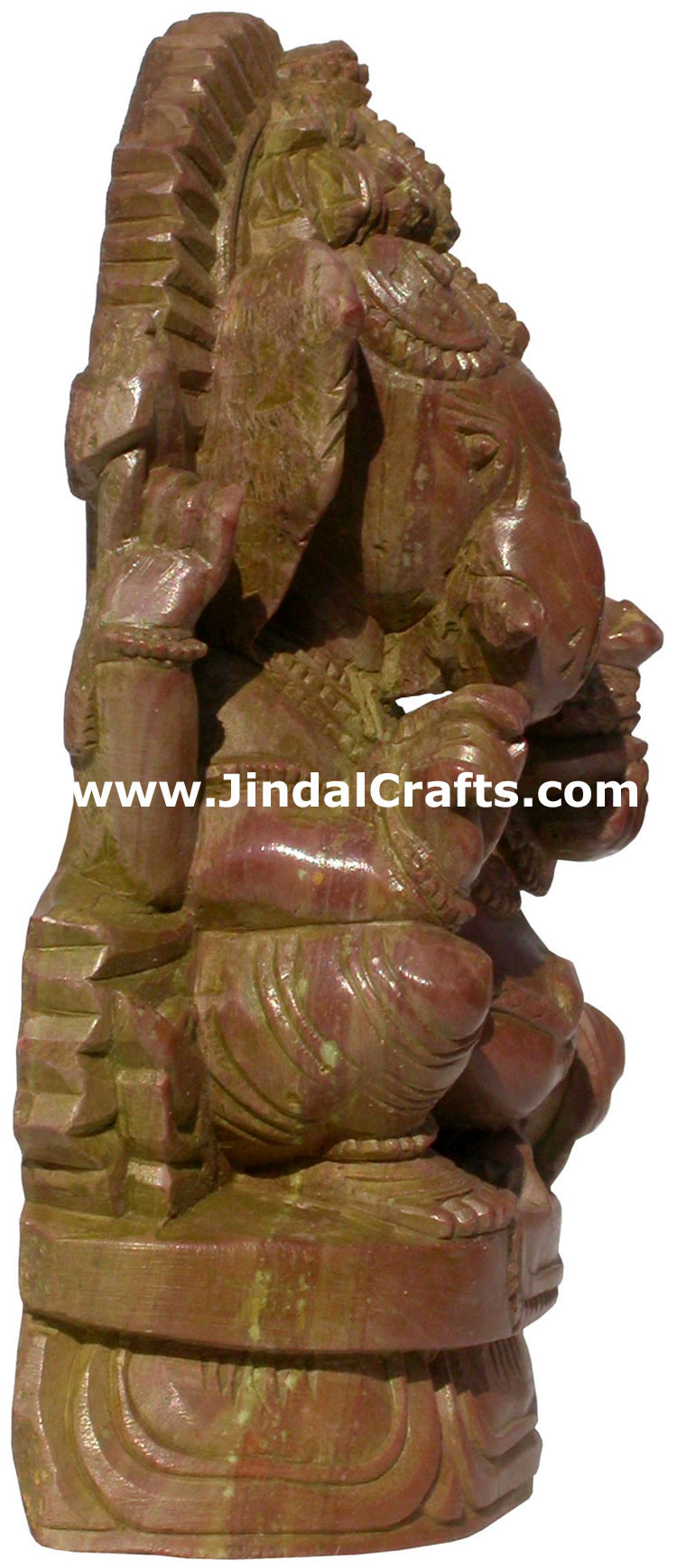 God ganesha hand carved pink stone indian hinduism carving