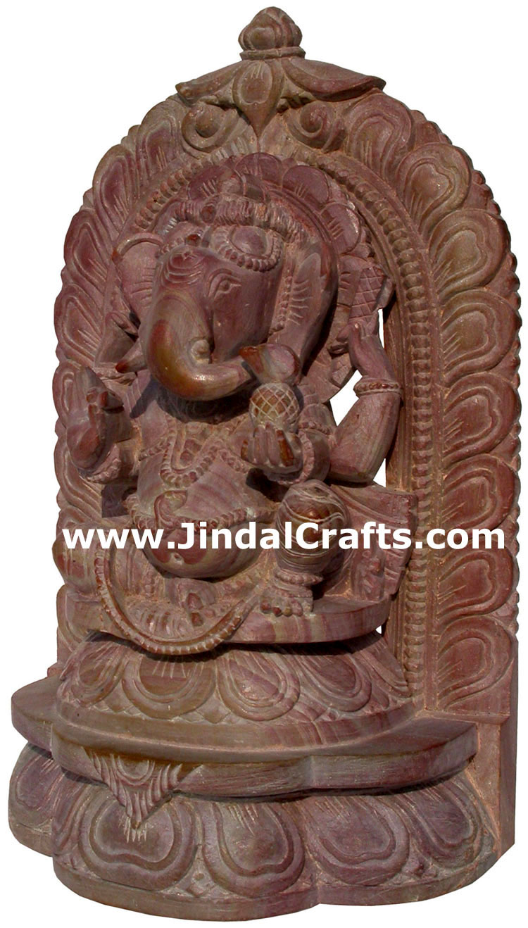Lord ganesha hand carved pink stone sculpture indian