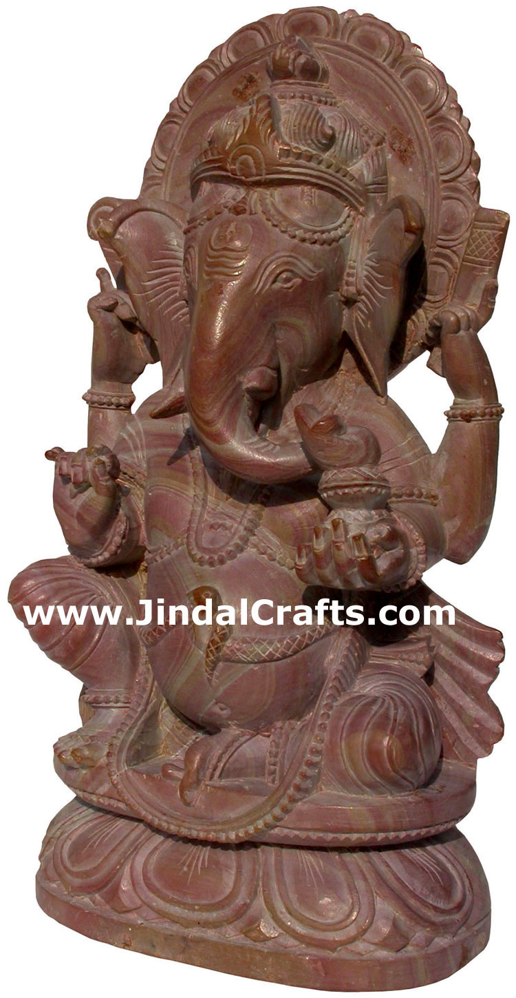 Hand Carved Pink Stone made Lord Ganesha India Carving