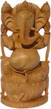 Wooden Hand Carved Ganesha Figurine Vinayak Hindu India Lord Ganpati Murti Craft
