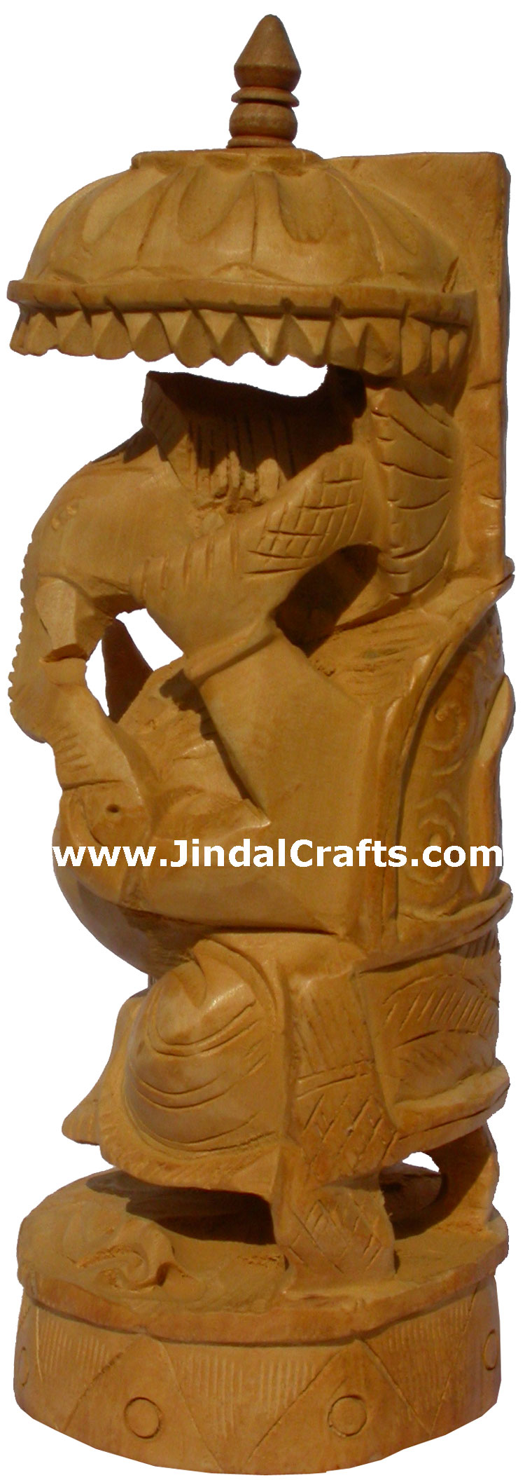 Wood Sculpture Hand Carved Umbrella Ganesh Statuette