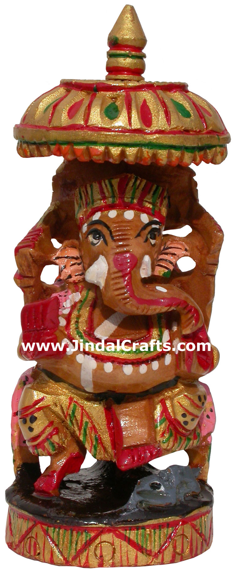 Handmade wooden carved painted Lord Ganesha India Arts