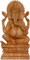Hand Carved Wooden Lord Ganesha Figure Indian Art