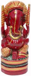 Handcarved Hand Painted Wooden Hindu God Ganesh India