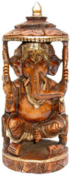 Ganesha Hand Crafted Wooden Carving Figurine Antique