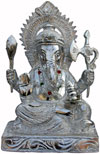 Ganesha - Hand Carved Indian Art Craft Handicraft Home Decor Aluminium Figurine
