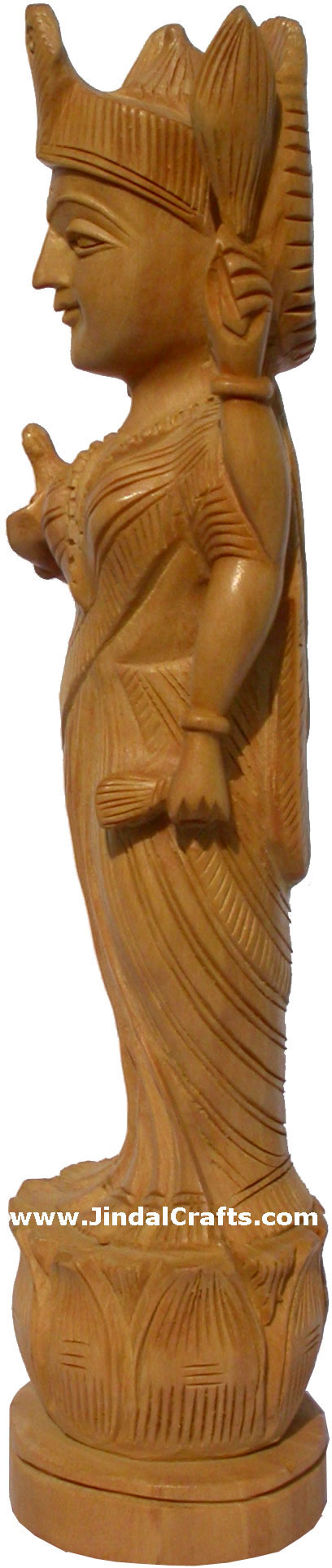 Wooden Goddess Laxmi Handcarved Statue Hinduism Carving Art Indian Handicrafts