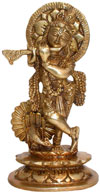 Hindu Deities Lord Krishna India Brass Carving Artefact
