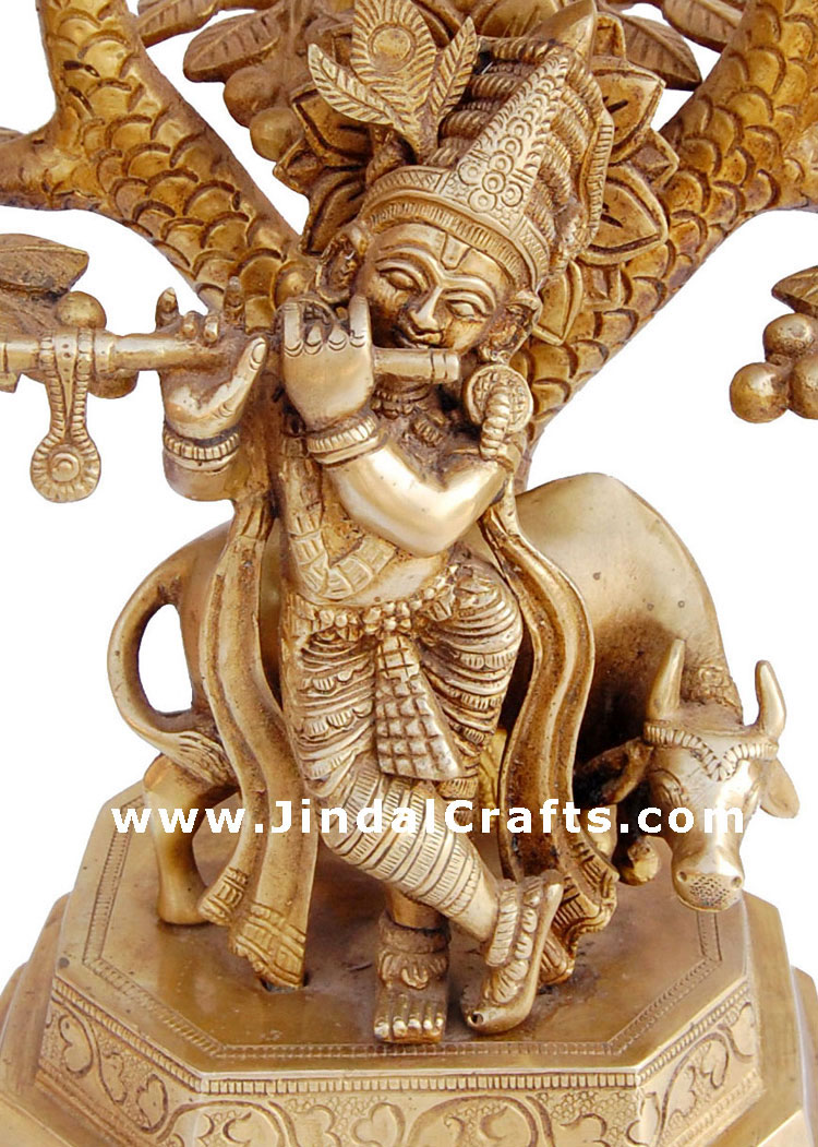 Lord Krishna - Brass Made Hindu God Religious Statue