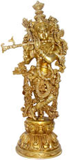 Lord Krishna Exclusive Piece of Brass Religious Statue Figurine Idol Collectible