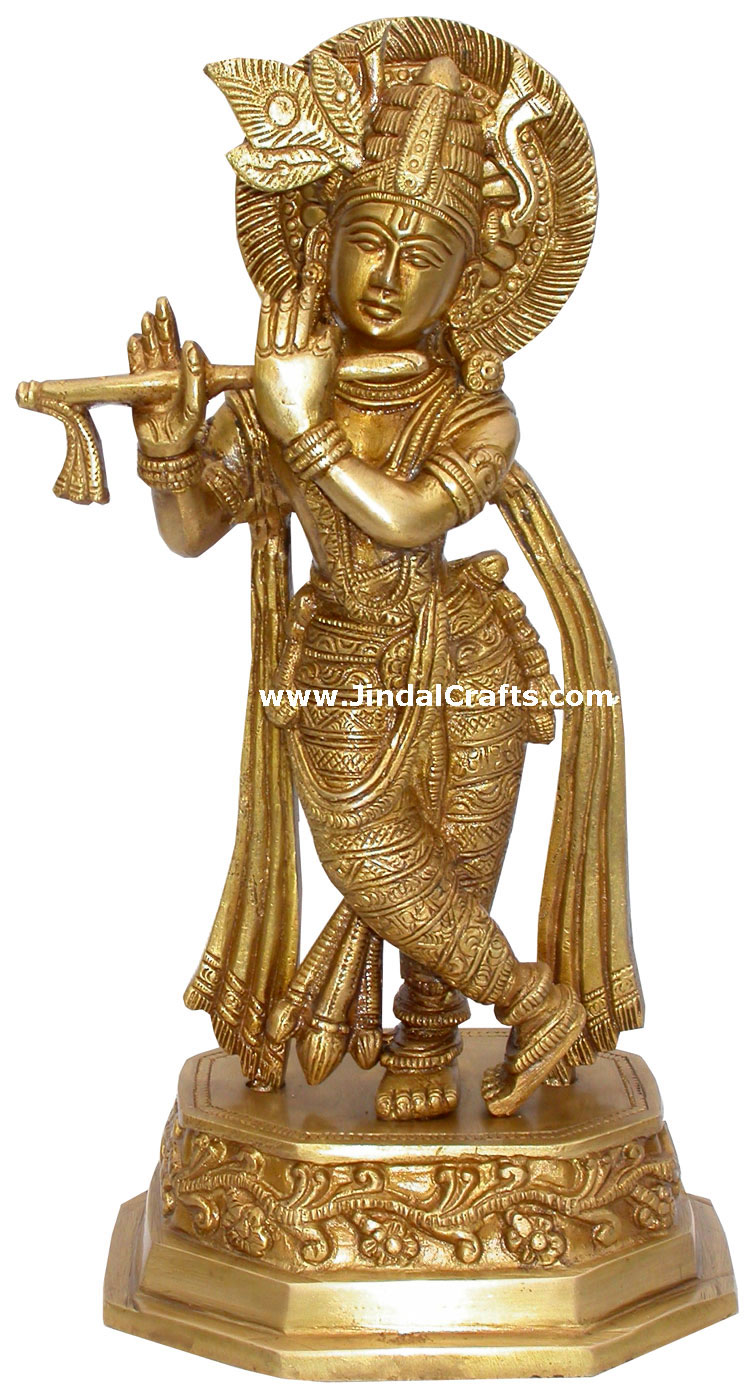 Lord Krishna Hindu God Brass Sculpture Figurine Art Indian