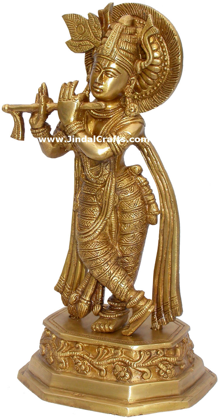 Lord Krishna Hindu God Brass Sculpture Figurine Art Indian Handicraft Home Decor Ebay