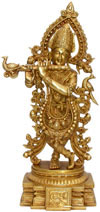 Lord Krishna Hindu God Brass Sculpture Hand Crafted Art