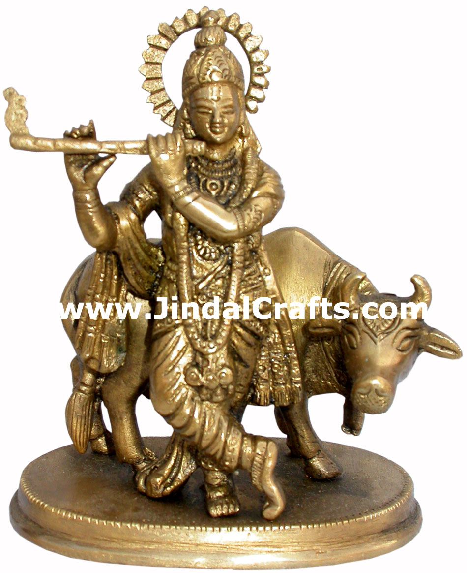 Krishna Hand Carved Indian Art Craft Handicraft Home Decor Brass Figurine