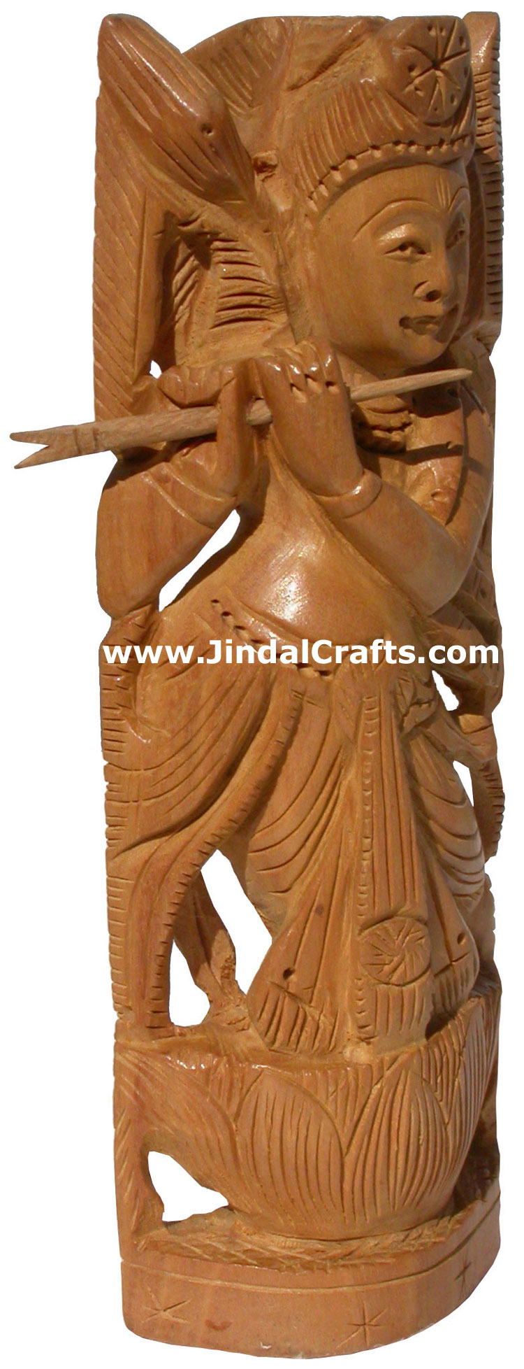 Hindu deities lord krishna india wood carving artefact