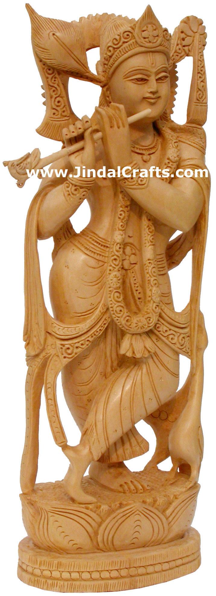 Hindu deities lord krishna india wood carving artifact