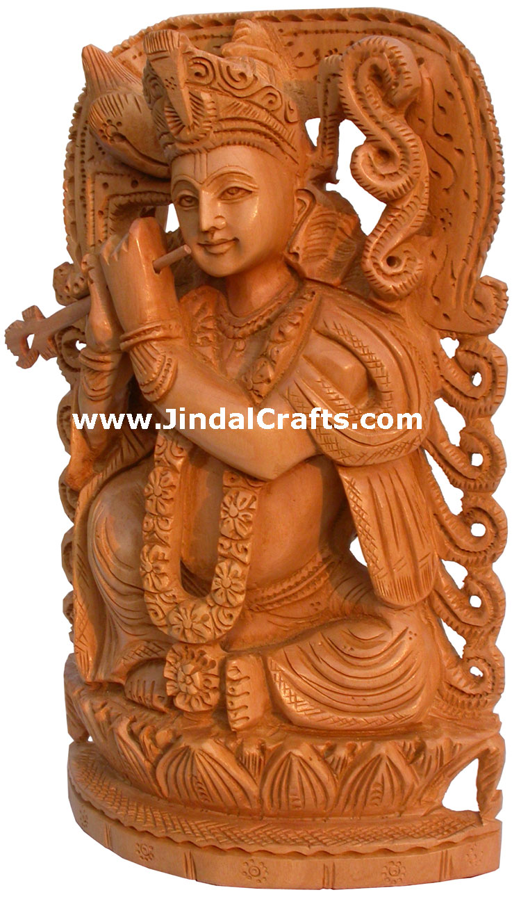 Krishna Hand Carving India Religious Sculptures Crafts