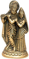 Radha Krishna Indian Religious Handmade Brass Sculpture
