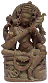 Hand Carved Hindu Goddess Saraswati Sculpture India Decor Stone Carving Crafts