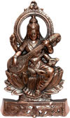 Saraswati Hand Carved Indian Art Craft Handicraft Home Decor Aluminium Figurine