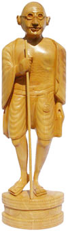 Hand Carved Wooden Mahatma Gandhi Statue Indian Art Work Sculpture Figurine Art