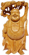 Wood Sculpture Happy Laughing Buddha Vaastu India Art