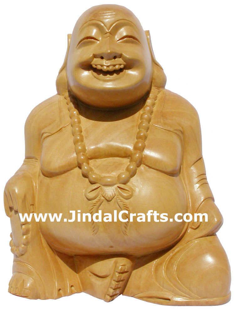 MASTER PIECE - HANDCARVED WOODEN SCULPTURE HAPPY LAUGHING BUDDHA VAASTU INDIA